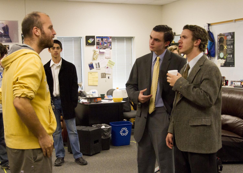 Teacher Nicholas Smith giving Tyler Palomo (Lyman Sanderson), Spencer Mattson (Elwood Dowd), and Lucas Martinez (E.J. Lofgren) some advice.