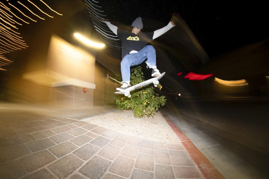"After trying to land the trick for more than an hour sophomore Jonah Safady finally kickflips the ""Nandos gap"" in Queen Creek."