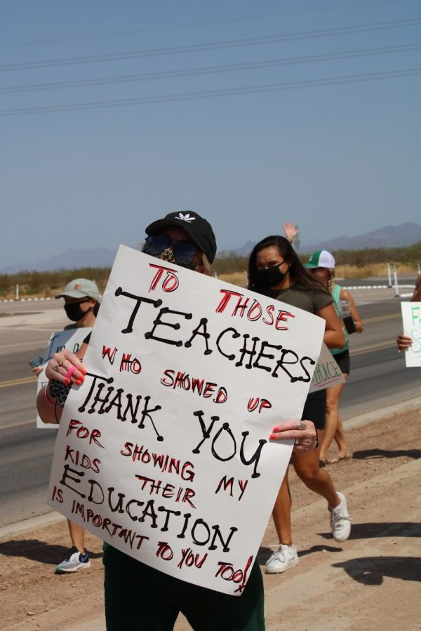 Demonstrators carried signs that showed appreciation for teachers that did not call in sick as well.