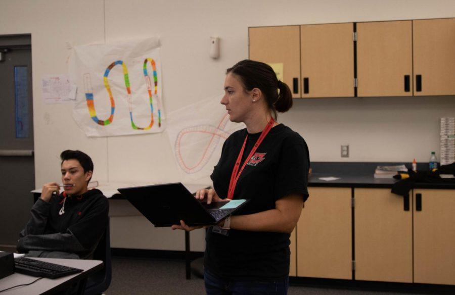 Cassandra Pollock speaking to students.