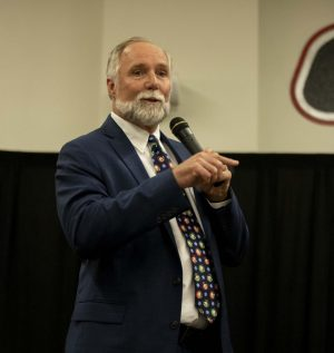 Dr. Greg Wyman answers questions from the community at the public forum last week.