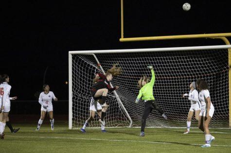 Senior Lexi Schnepf misses a shot-on-goal in the match against Poston Butte last season.