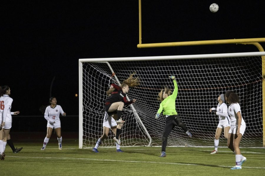 Senior Lexi Schnepf misses a shot-on-goal in the match against Poston Butte last season.